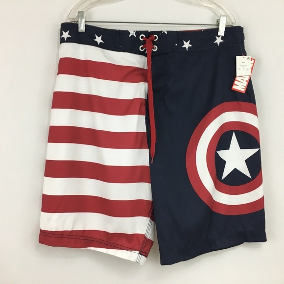 6cebe431b6 Marvel Swim | Captain America Board Shorts Mens Size 2xl | Poshmark